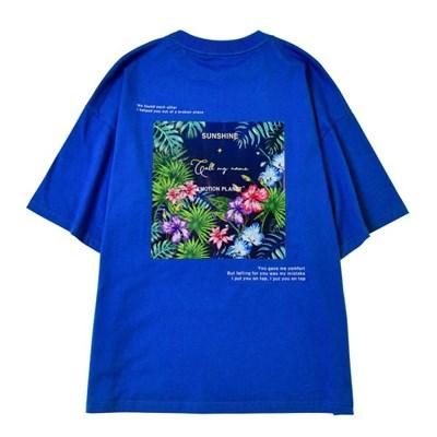 플라워 2 포토프린트 티셔츠 BLUE