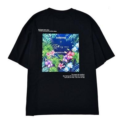 플라워 2 포토프린트 티셔츠 BLACK