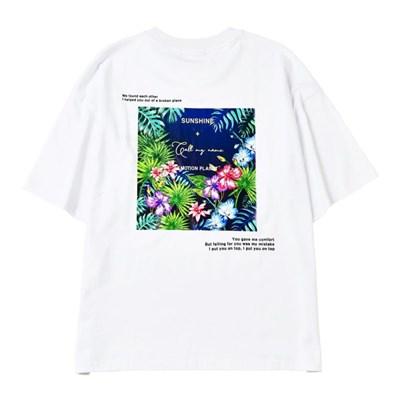 플라워 2 포토프린트 티셔츠 WHITE