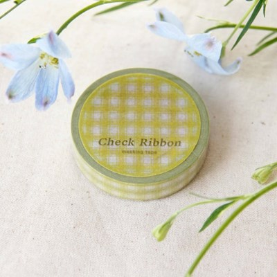 Check Ribbon Masking Tape [Olive Green]