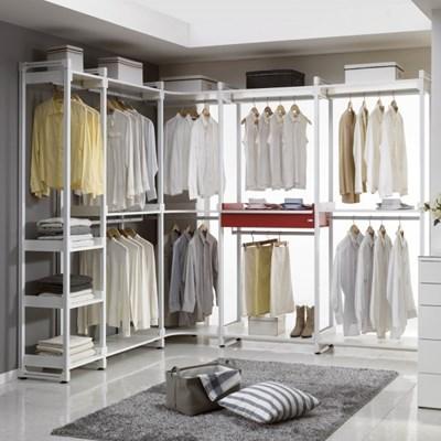 화이트 시스템 5칸 드레스룸 ㄱ자형 옷봉 선반 CE522_(769265)