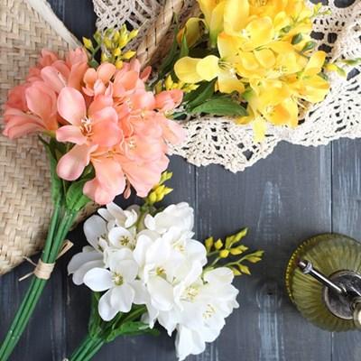 봄꽃 프리지아 조화 묶음(3color)_(1927377)