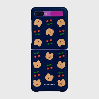 Dot cherry bear-navy(Z플립-하드)_(1561307)