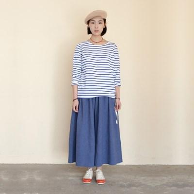 Joy Wide Wide Linen Pants Herringbone Blue