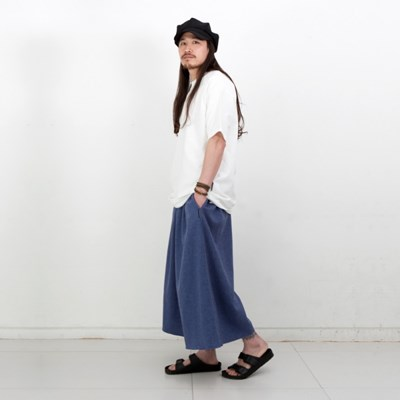 Joy Wide Wide Linen Tall Pants Herringbone Blue