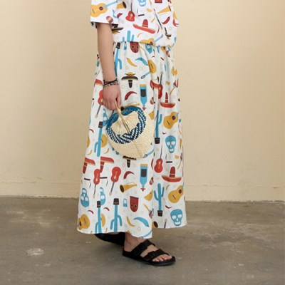 COCO All-Over Print Wide Wide Linen Pants