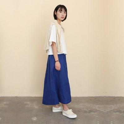 Mia Linen Long Skirt Classic Blue