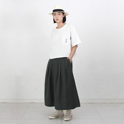 Mia Linen Long Skirt Hunter Green