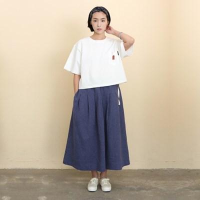 Mia Linen Long Skirt Herringbone Blue