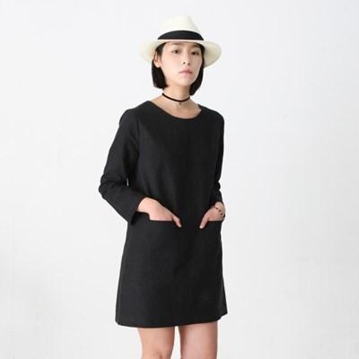 Emily Linen Dress Black