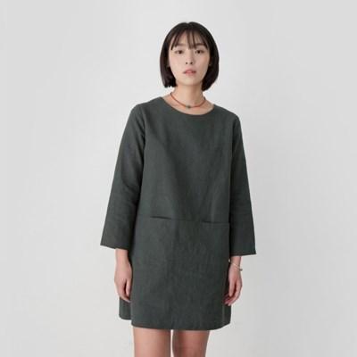 Emily Linen Dress Hunter Green