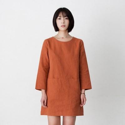 Emily Linen Dress Burnt Orange