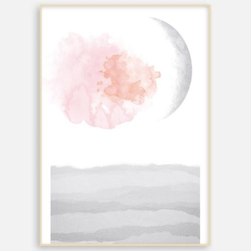 패브릭 포스터 거실 인테리어 그림액자 북유럽디자인 핑크 문