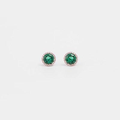 [쥬디앤폴] 마늘렌느 에메랄드 그린 크리스탈 실버 귀걸이 E50489