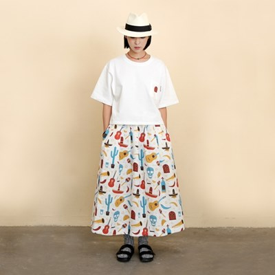 COCO All-Over Print Linen Long Skirt