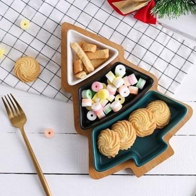 온나 크리스마스 트리 나눔접시 간식 트레이_(1939577)