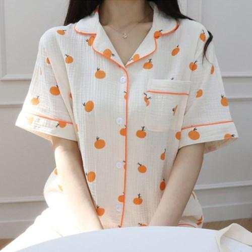 (빅사이즈추가)여름 거즈면 귤 홈웨어 잠옷 세트