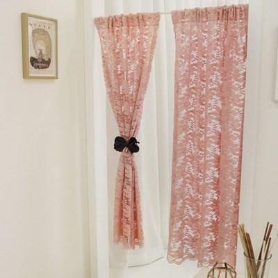 작은창가리개 커튼-핑크 베고니아 레이스