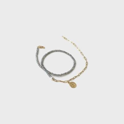 half gray bracelet & necklace
