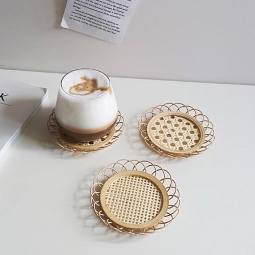 대나무 플라워 컵받침 코스터