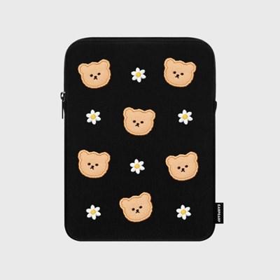 [12/04예약발송]Dot flower bear-black-ipad pouch(아이패드 파우치)