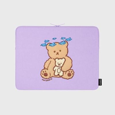 Blue bird bear-purple-13inch notebook pouch