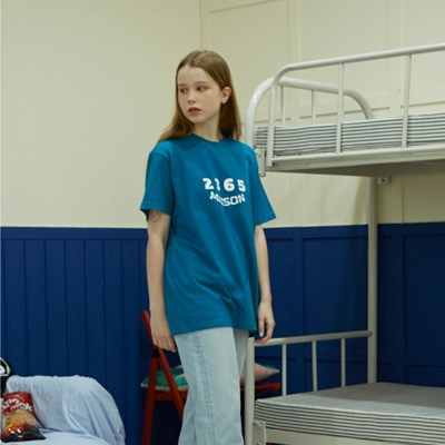 23.65 MAISON LOGO HALF T-SHIRTS BLUE