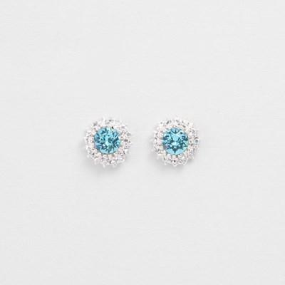 [쥬디앤폴] 플로라 아쿠아 블루 크리스탈 포스트 귀걸이 E51410