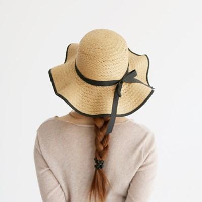 여성 왕골모자 밀짚모자 여름모자 모자[SW-1 물결리본 왕골햇]