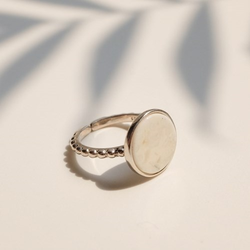 925silver Arin Marble Signature Ring (White Gold)