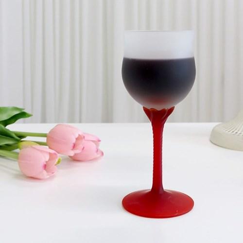 레드 핸들 튤립 와인잔 유리컵 샴페인잔