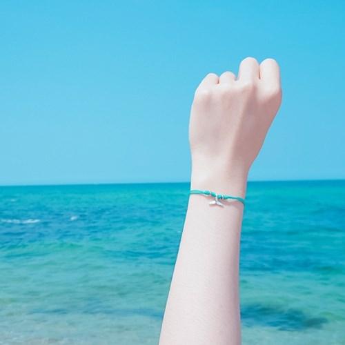 [기부팔찌] 925실버 블루 매듭_고래꼬리 시리즈 #03