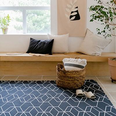 시어서커 큐브 여름 거실 러그 침실 패드 100x150cm_(1816732)