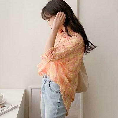 여름 루즈핏 체크 컬러 면 지지미 얇은 언발 긴팔 롱셔츠남방