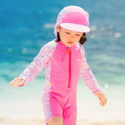 [BAY-B] 여아용 핑크 조이 래쉬가드 점프수트+플랩캡 세_(2791099)