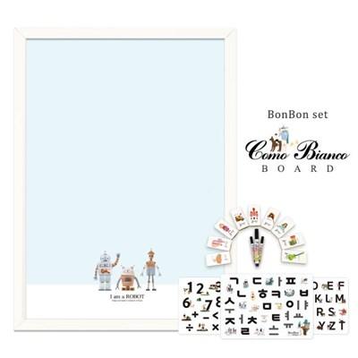 [꼬메모이]꼬모비앙코 아이엠로봇 M 봉봉문자3종 세트 / 칠판 자석