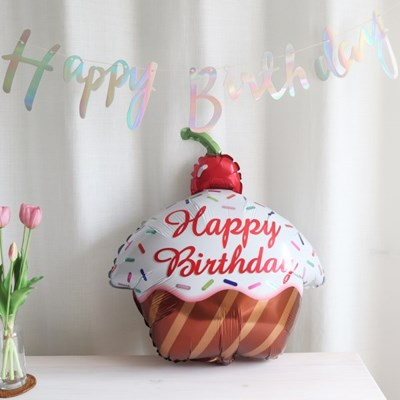 컵케익 생일파티 호일 풍선 브라운,민트