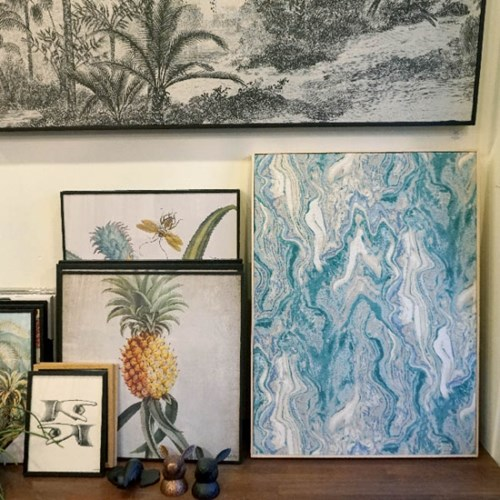 FABRIC CANVAS - MARBLING BLUE