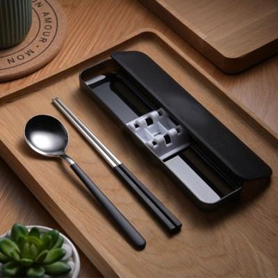 쿠킹홈 휴대용 수저 세트(블랙)