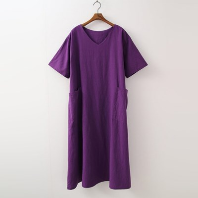 Linen Cotton V-Neck Long Dress