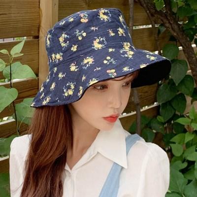 플라워 벙거지 버키킷햇 양면 넓은챙 모자