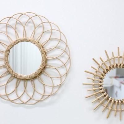발리 라탄 거울 네추럴 인테리어 핸드메이드
