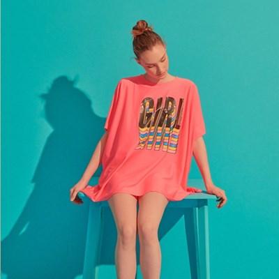 [비키니밴더] GIRL 오버핏 래쉬가드 - pink