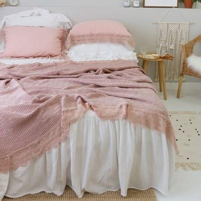 줄리엔 레이스 모달와플 여름이불(mini,S,Q,K)-핑크