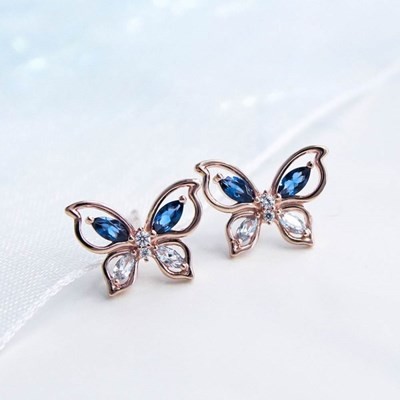 [모르포 나비] 나비의 푸른빛 날개짓, 실버 귀걸이 CLER20675PPL