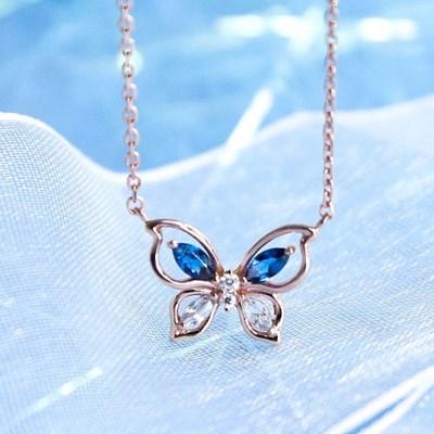 [모르포 나비] 나비의 푸른빛 날개짓, 실버 목걸이 CLNR20675MPL