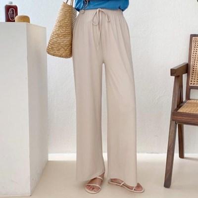 맘룩 루즈핏 밴딩 허리끈 스판 와이드 일자통 팬츠