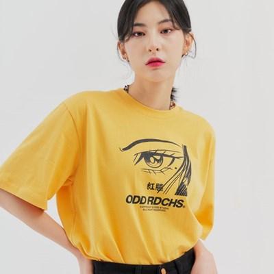 [스티커팩 증정] 페이스 티셔츠 - MUSTARD