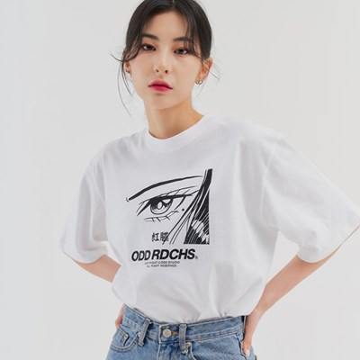 [스티커팩 증정] 페이스 티셔츠 - WHITE