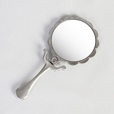 큐티메탈 데이지 원형 접이 콤팩트 손거울-주석